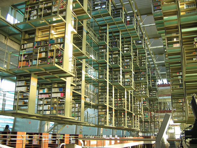 Biblioteca Vasconcelos library with rows of shelving in Mexico City