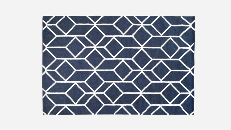 geo outline rug navy