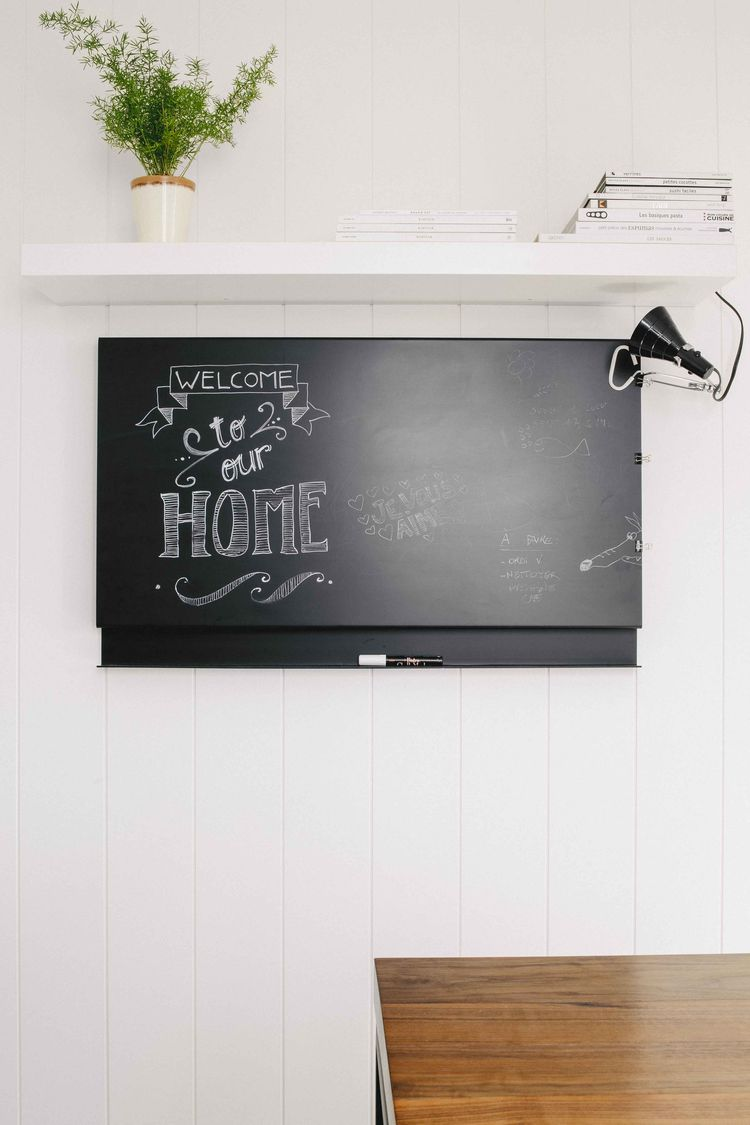 Chalkboard in a renovated Montreal kitchen
