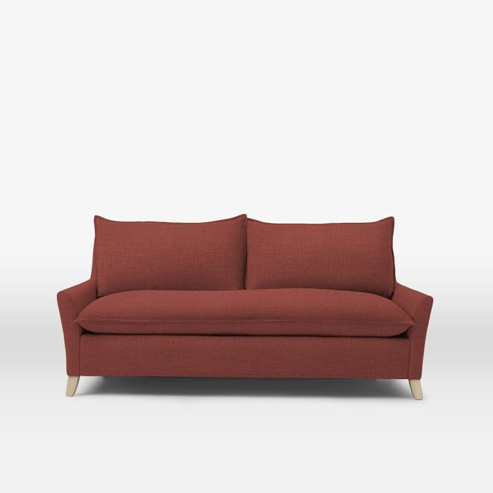 West Elm Bliss sofa in Marsala linen weave