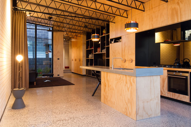 Hello house in Melbourne with plywood kitchen and industrial tresses