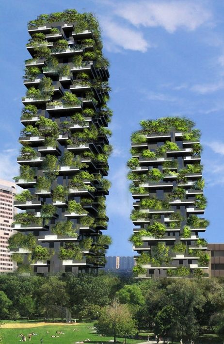 Bosco Verticale towers filled with trees in Milan