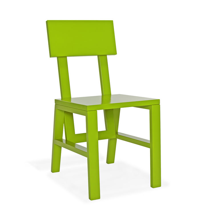 oak chair in vibrant green finish