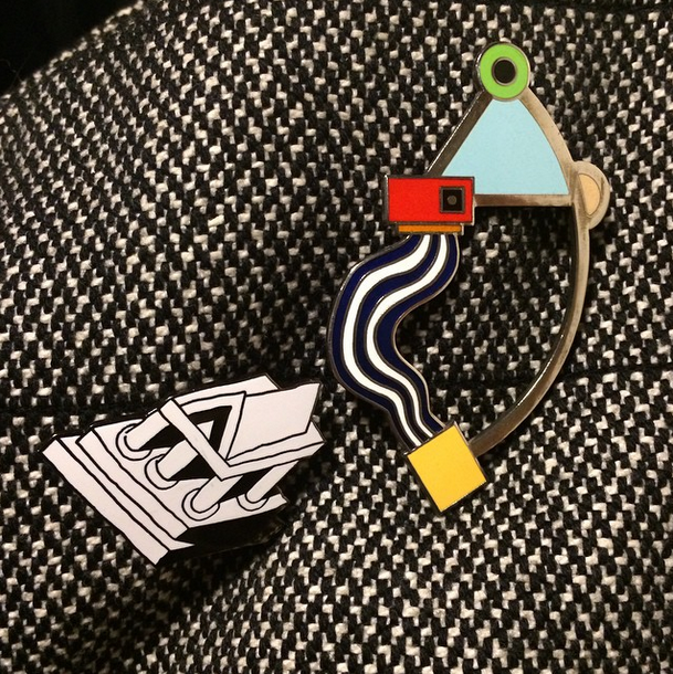 Acme Studio Memphis Collection Ettore Sottsass and Marco Zanini brooches