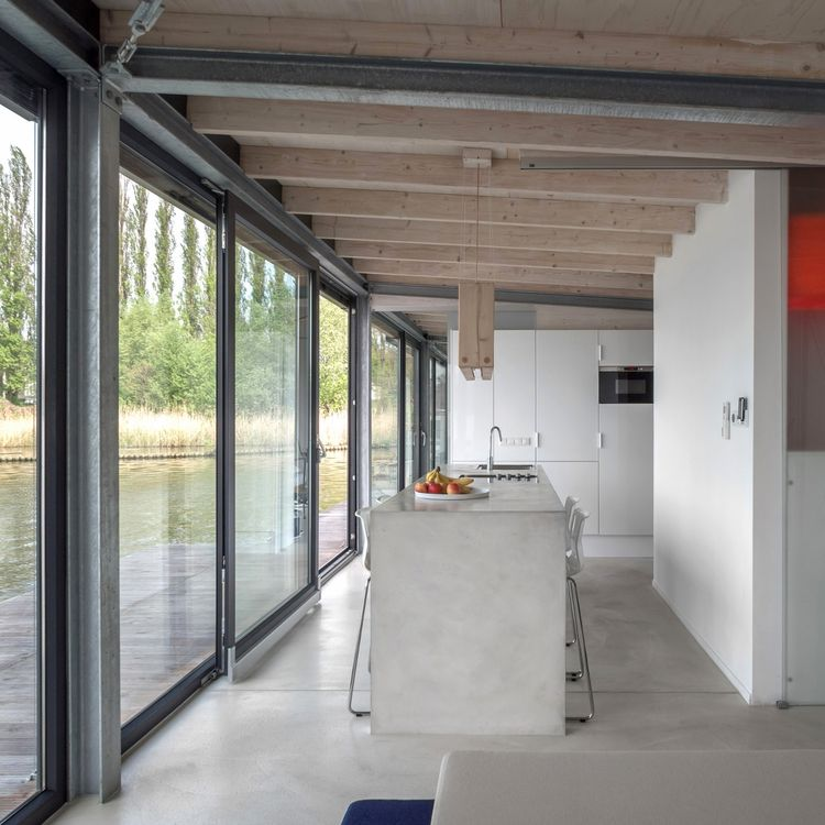 Open kitchen on a floating house boat