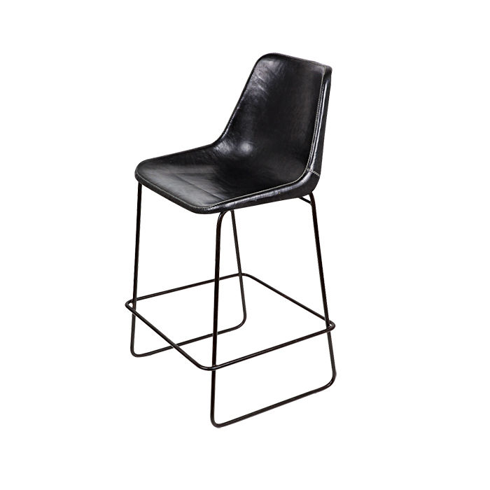 Black leather bar stool by Giron