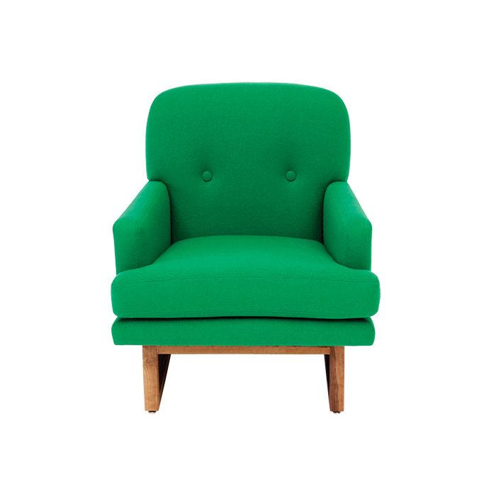 Green Melinda armchair by Alejandro Artigas for Artless Corporation