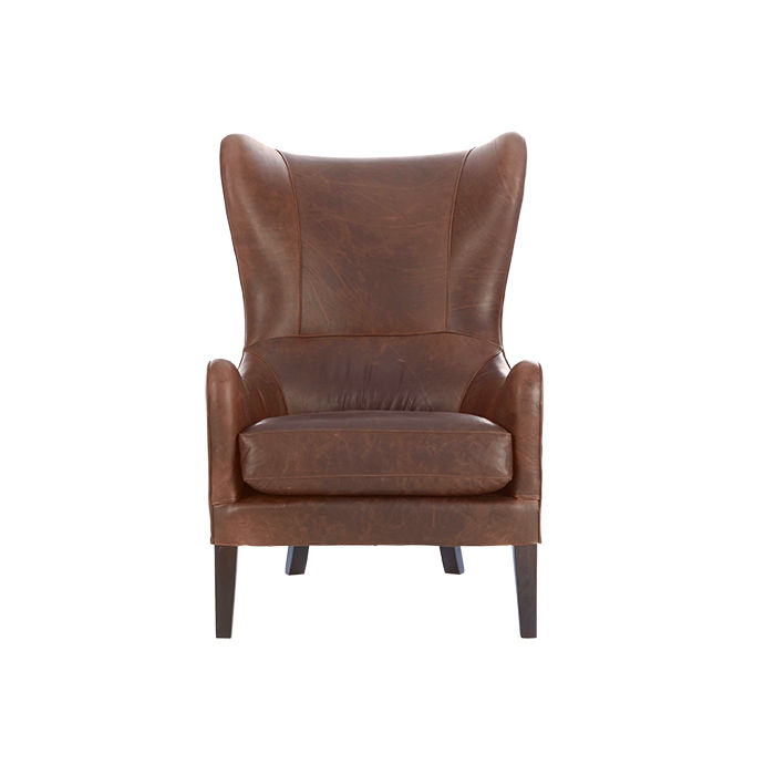 Leather Wing chair by James Harrison for West Elm