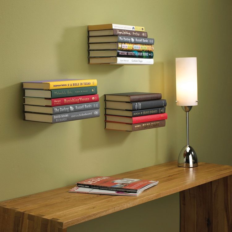 Innovative book shelving concealing the shelf