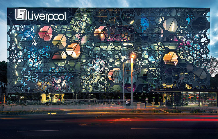 Liverpool department store in Mexico City with punctured facade in Mexico City