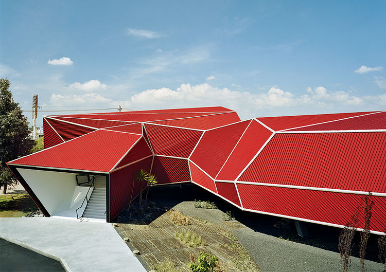 Nestle chocolate museum with red angular shape by Rojkind Arquitectos