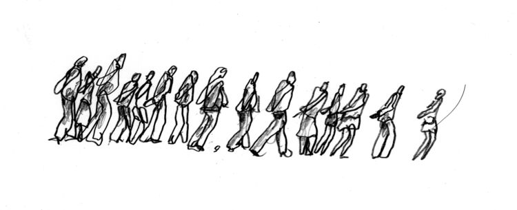 Michele De Lucci sketches of the human body walking