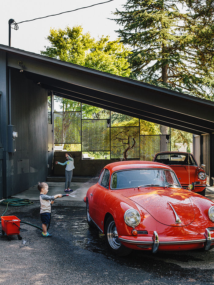 Carport on a midcentury house in Portland Oregon