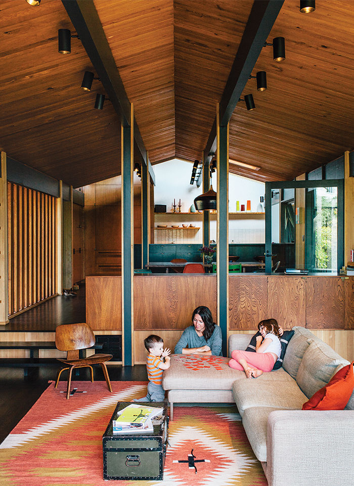 Midcentury Portland home with wood floors, ceiling, and walls