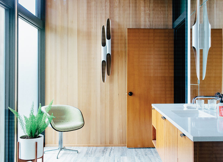 Midcentury master bathroom in Portland with custom vanity and Hansgrohe fixtures