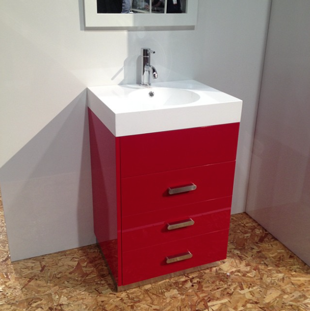 Red vanity by Cutler Kitchen and Bath at KBIS 2015