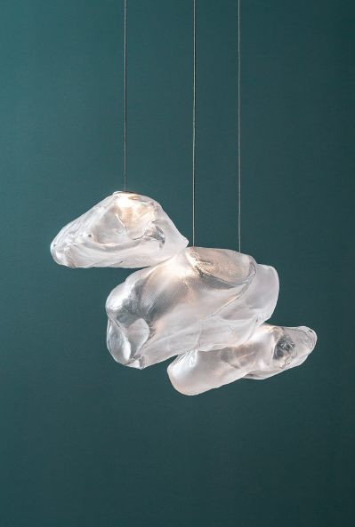 Omer Arbel fabric and glass pendants for Bocci