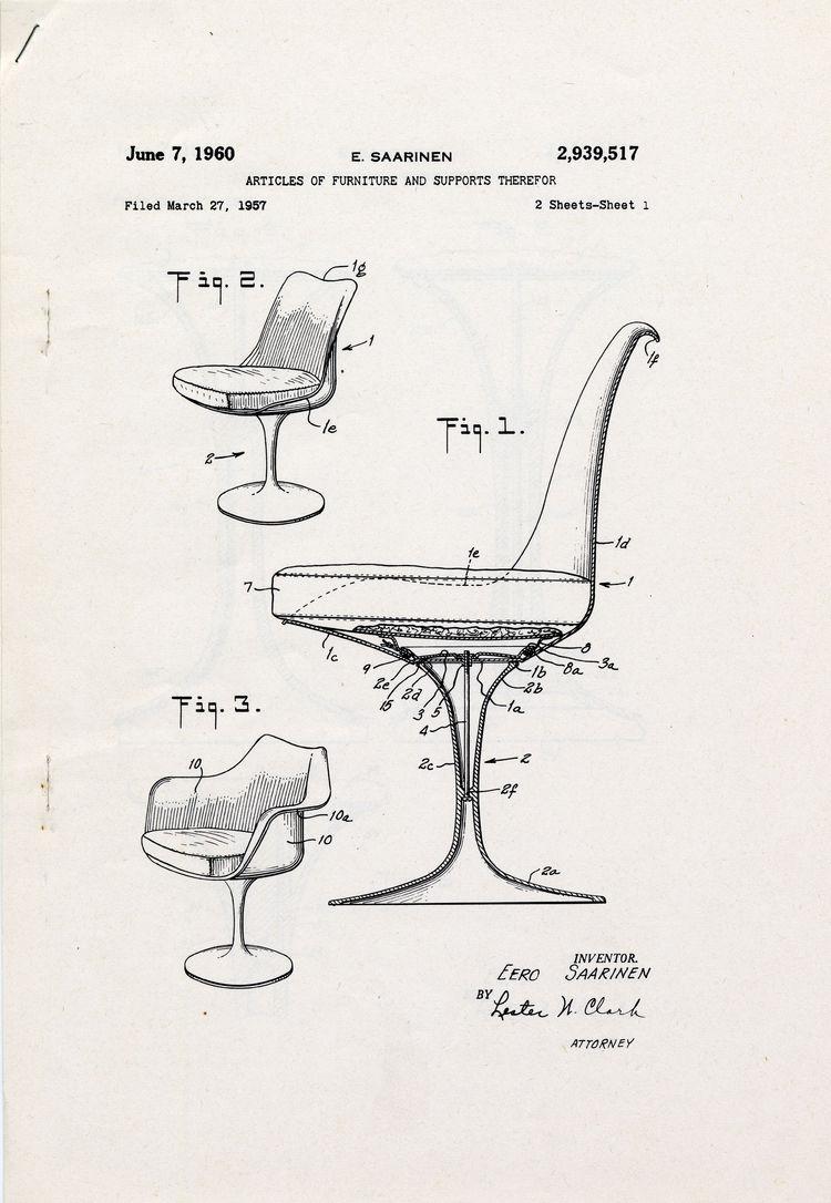 Patent drawing for Eero Saarinen's Tulip Chair