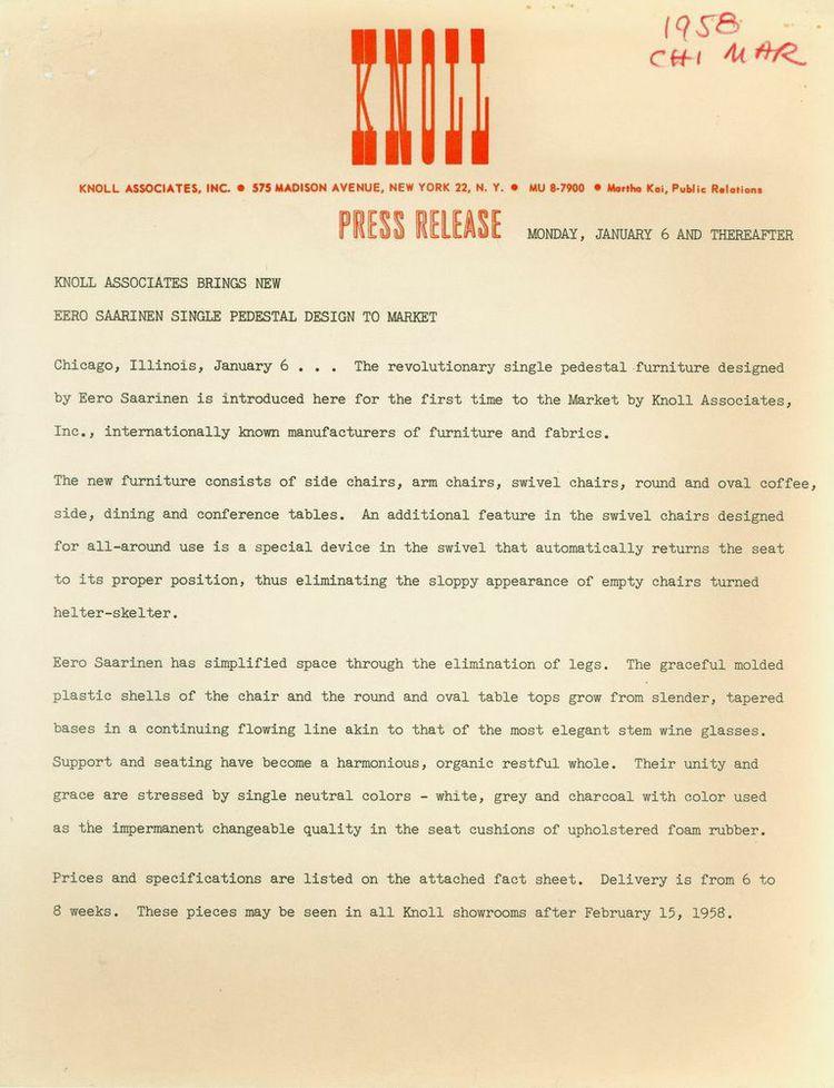 Knoll press release on Eero Saarinen's Pedestal Collection