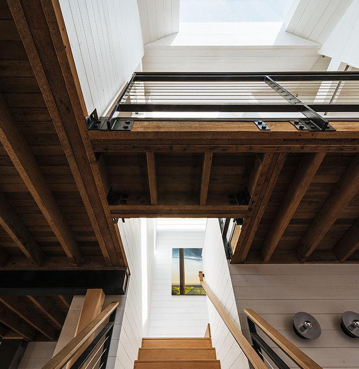 San Francisco residence skylight and wood bridge