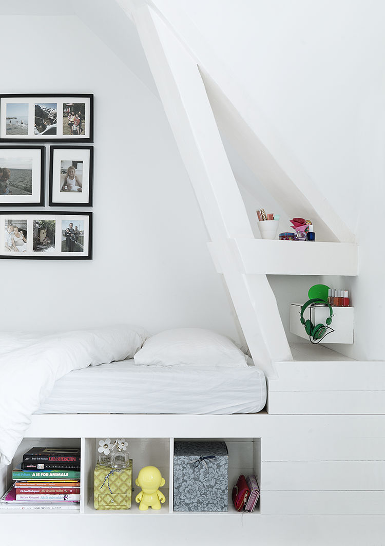 Custom Corner Bed in Monochromatic Copenhagen Townhouse