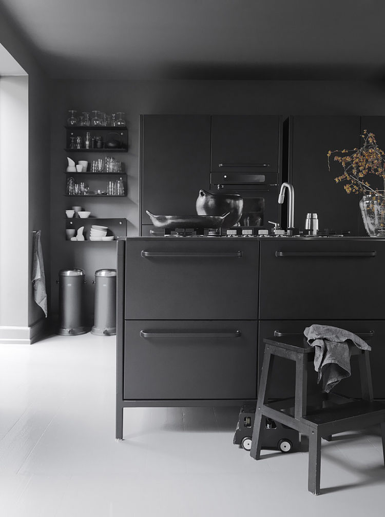 Detail of Monochromatic Kitchen in Copenhagen Townhouse