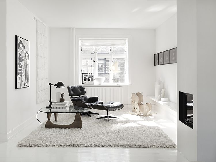Monochromatic Living Room in Copenhagen Townhouse