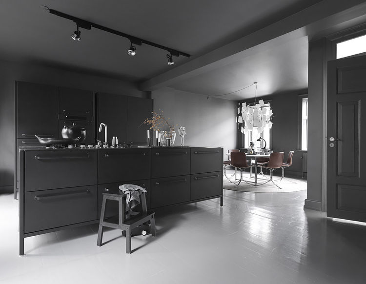 Monochromatic Kitchen in Copenhagen Townhouse