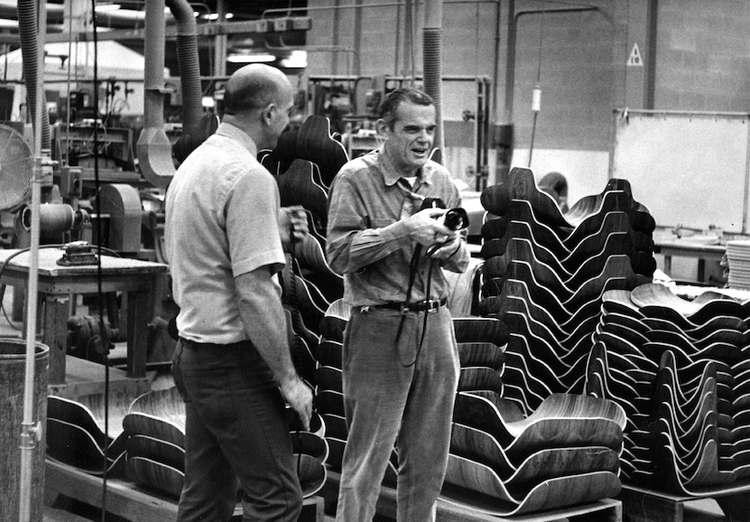 Charles Eames Visiting the Herman Miller Factory