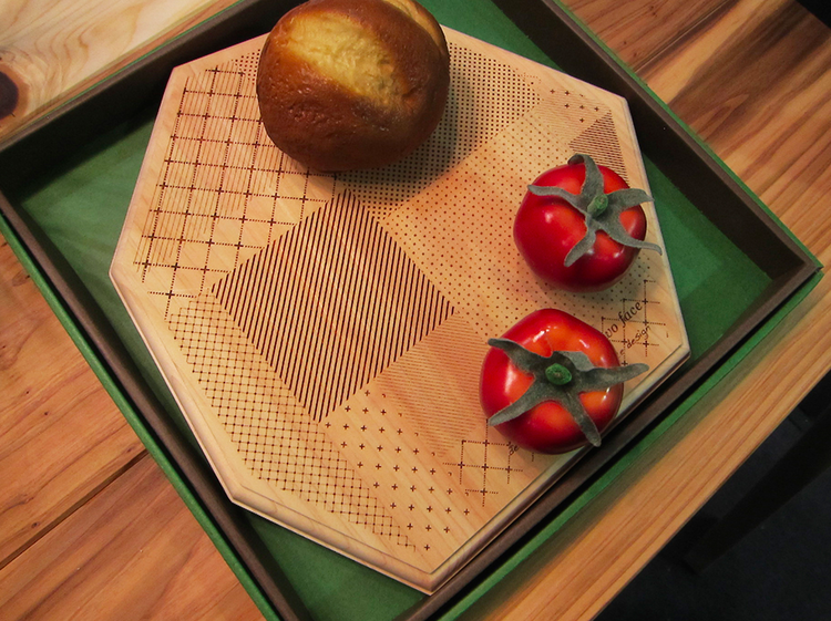 Wood cutting board by Cement Product Design at the Tokyo Design Fair