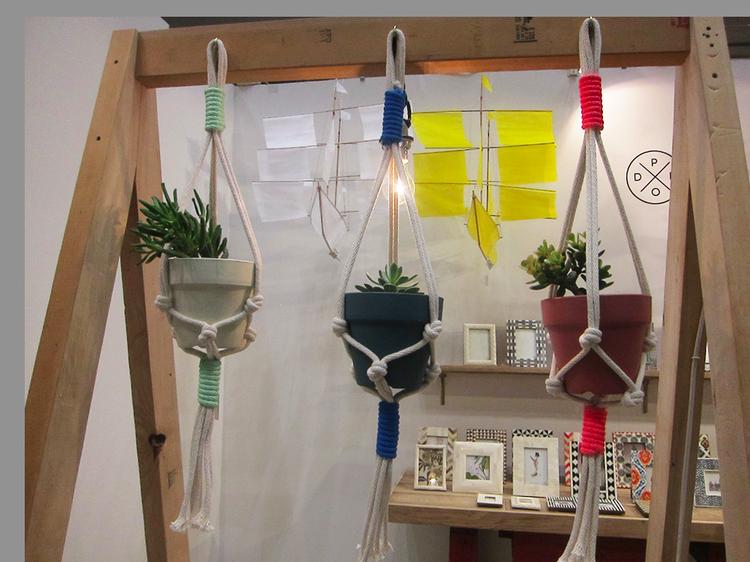 Macramé hanging planters at the Tokyo Gift Fair