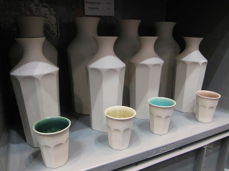 Hasami porcelain cups at the Tokyo gift fair