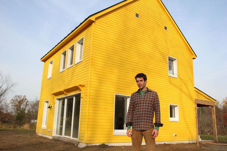 Yellow Passive house in Maine