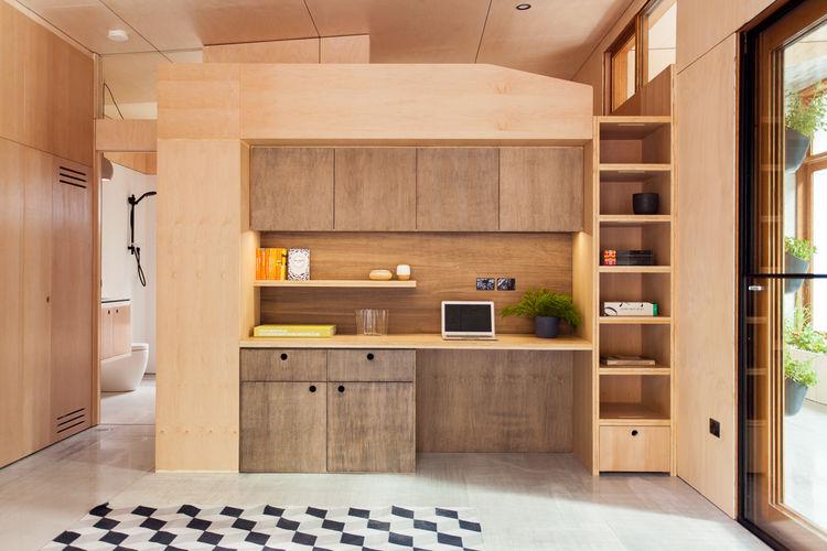 Carbon-positive prefab house kitchen