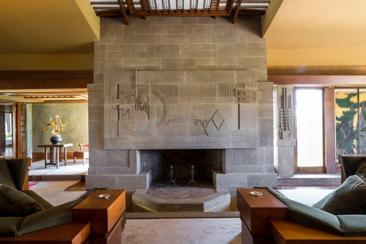 Frank Lloyd Wright Hollyhock Los Angeles living room fireplace