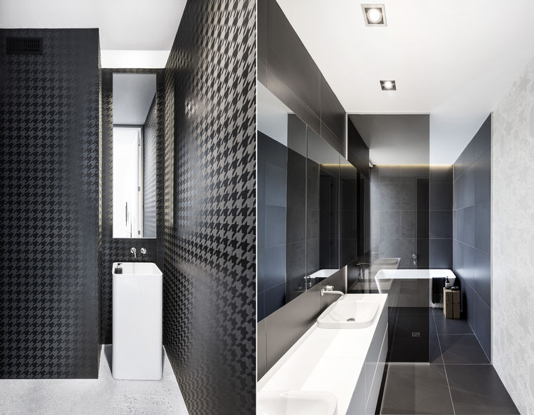 modern bathrooms with houndstooth wallpaper and white fixtures