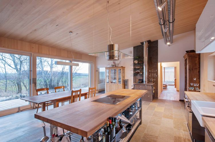 Main Room of White Pine Bungalow in Austria