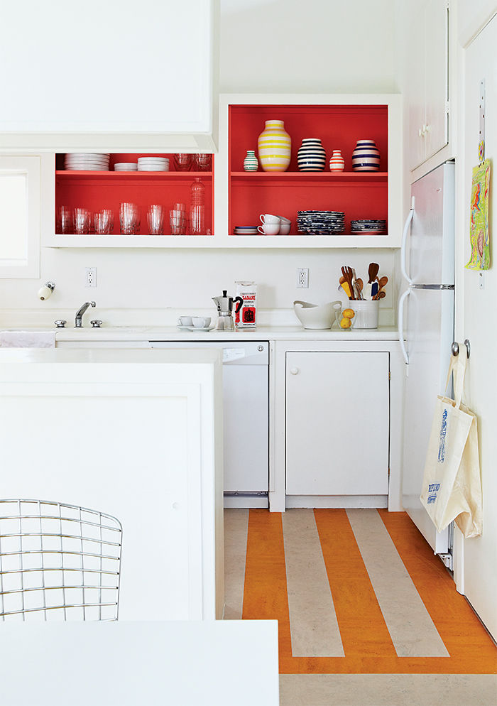 Fire Island kitchen with bright red cabinets