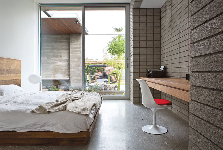 Guest Bedroom with Saarinen chair in Indian Summer house in Southern California