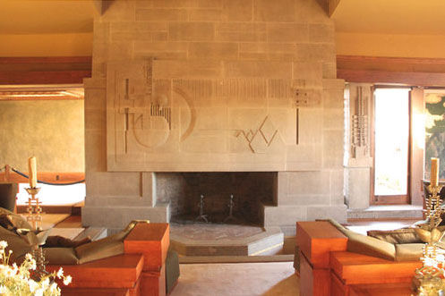 Frank Lloyd Wright Hollyhock House Los Angeles Living Room Fireplace