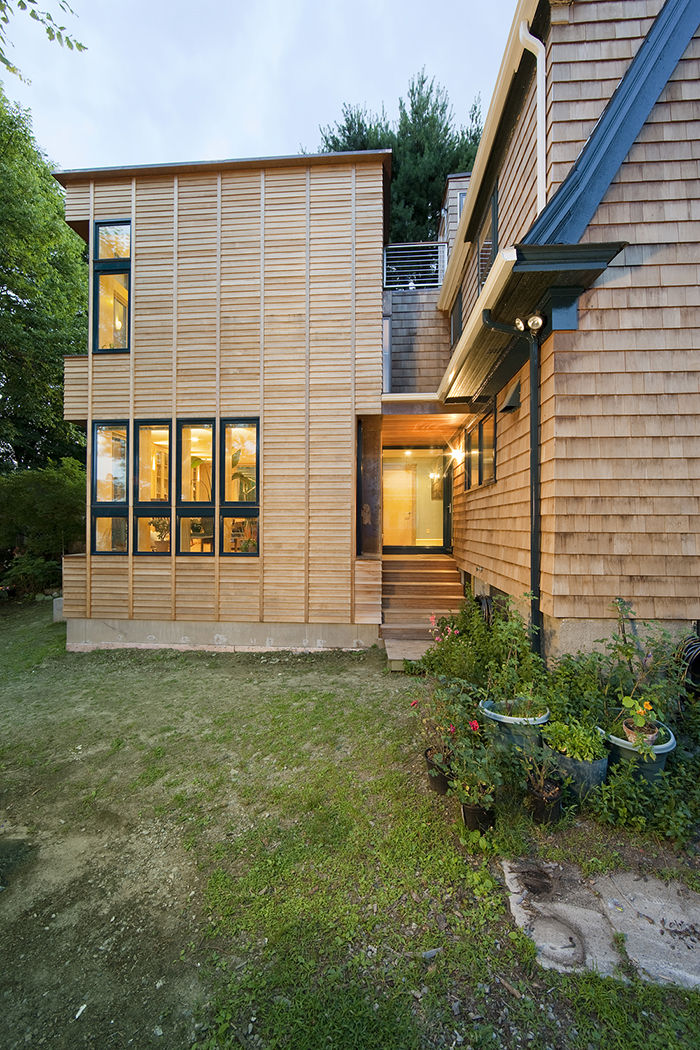 New Addition's cedar exterior.