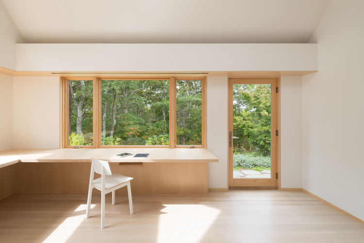 Cape Cod Office Addition white birch cantilevered desk