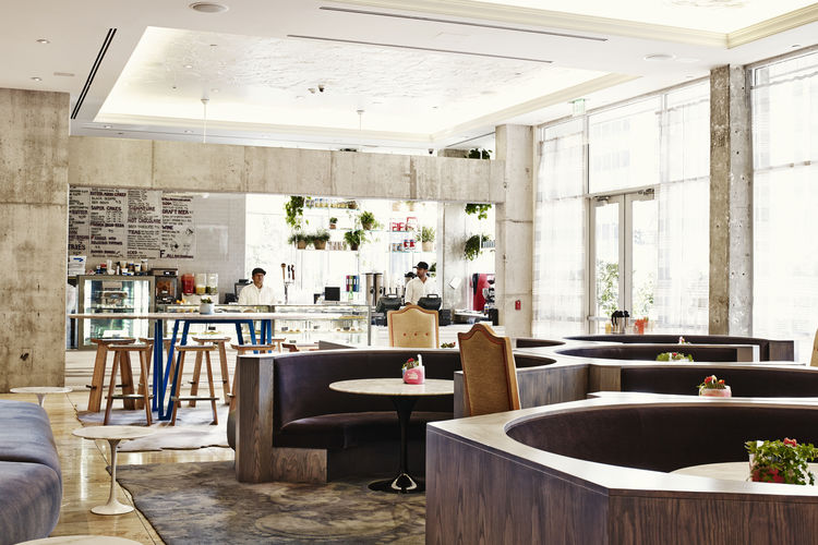 Modernist The Line Hotel Koreatown Los Angeles Sean Knibb Design CaFe Saarinen Dining Side Tables Hive Modern