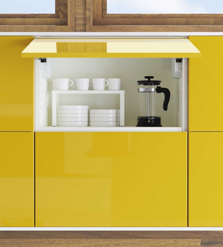 New IKEA kitchen cabinets in yellow