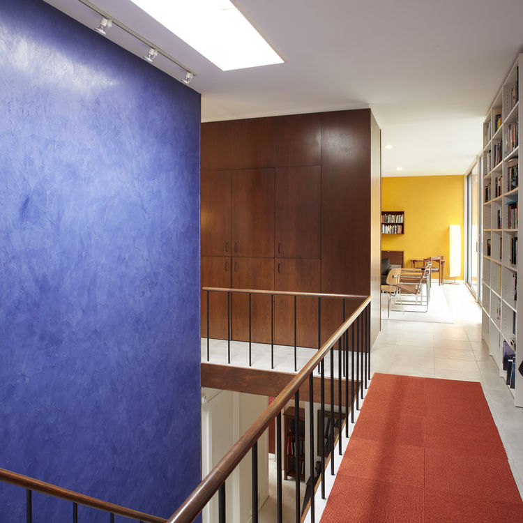Blue and yellow midcentury interior in New Canaan