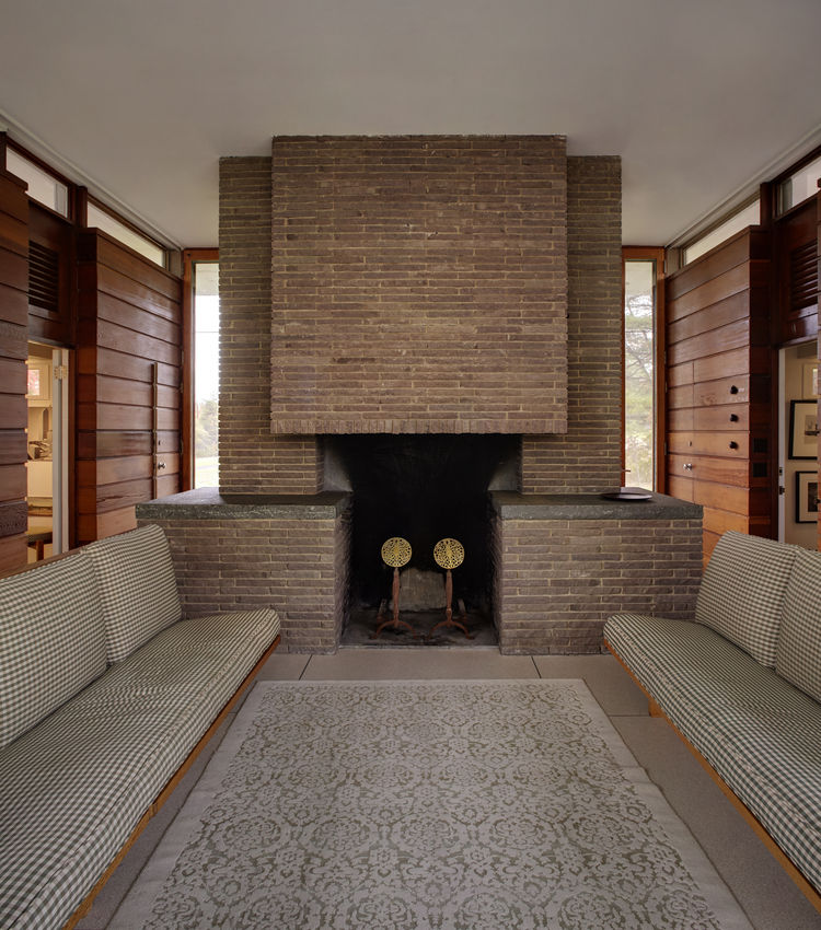 Midcentury fireplace in New Canaan