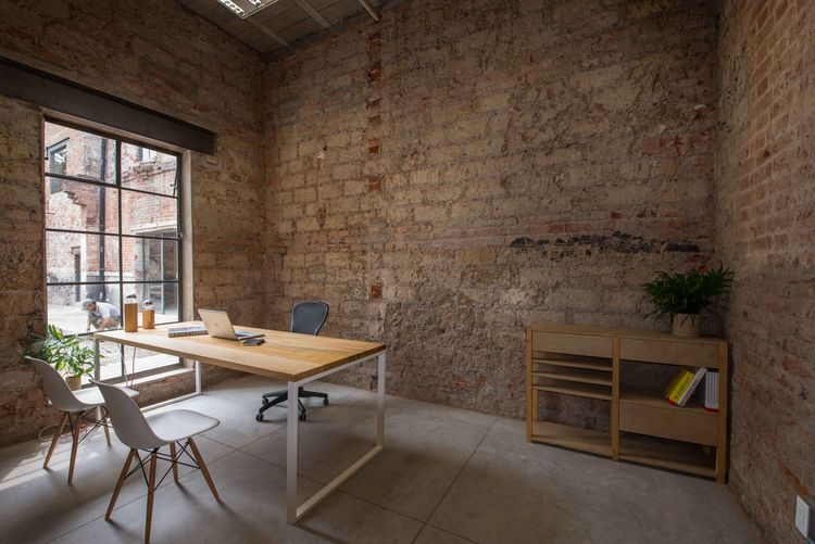 Brick historic building turned into an office in Mexico City