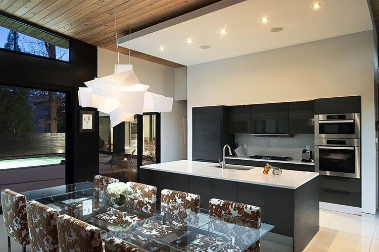 Open plan dining-kitchen area.