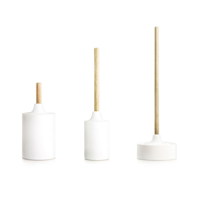Streamlined silicone bath accessories with wood accents