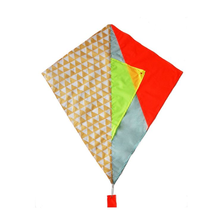 Colorful patchwork-inspired kite for outdoor activities